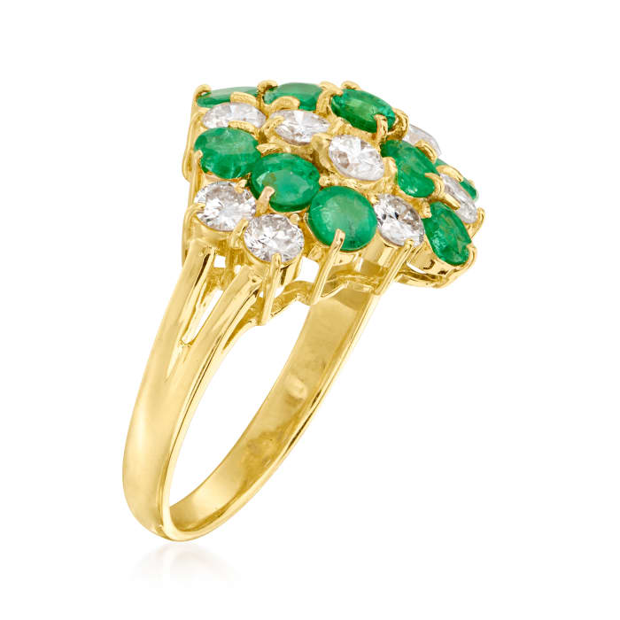 C. 1980 Vintage 1.74 ct. t.w. Emerald and 1.19 ct. t.w. Diamond Cluster Ring in 18kt Yellow Gold