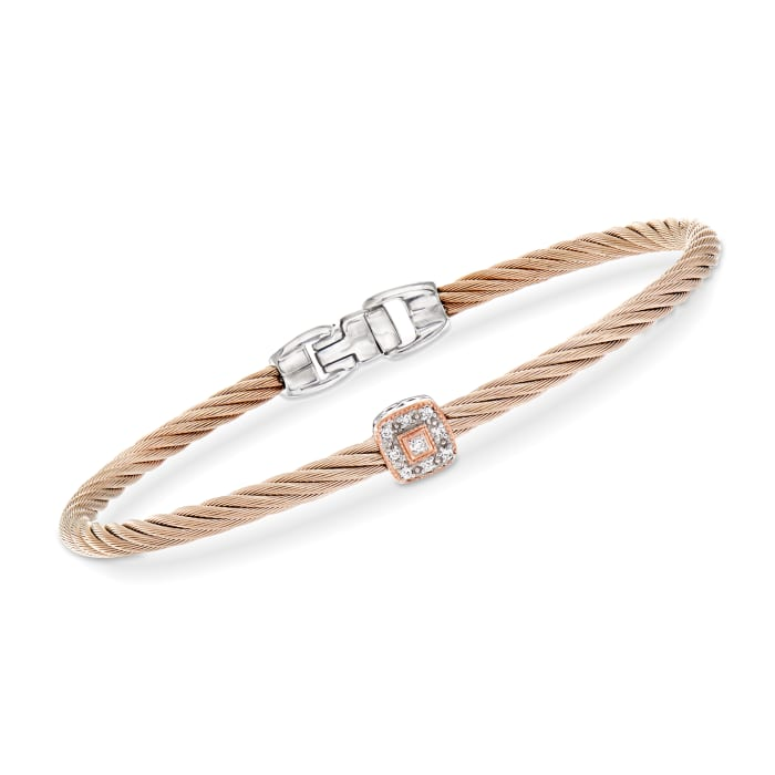 """ALOR """"Shades of Alor"""" Blush Carnation Cable Station Bracelet with Diamond Accents in Stainless Steel and 18kt White and Rose Gold"""