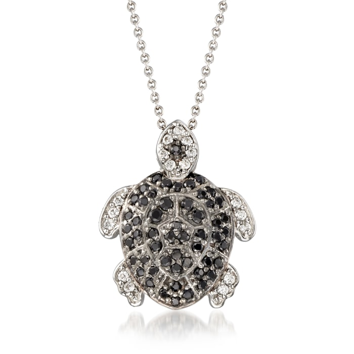.50 ct. t.w. Black Spinel and .19 ct. t.w. White Zircon Turtle Pendant Necklace in Sterling Silver