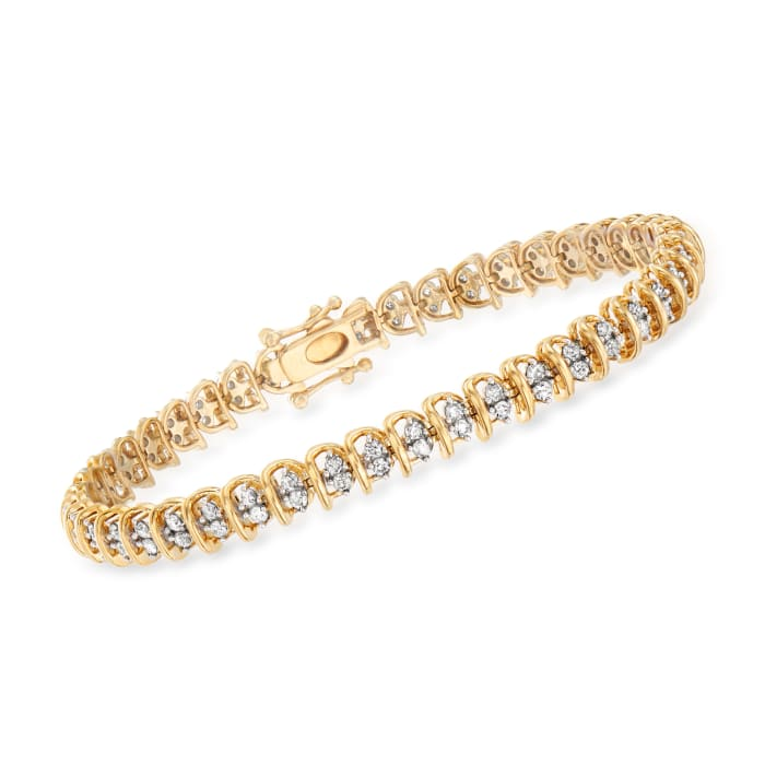 2.00 ct. t.w. Diamond Swirl-Link Tennis Bracelet in 18kt Gold Over Sterling