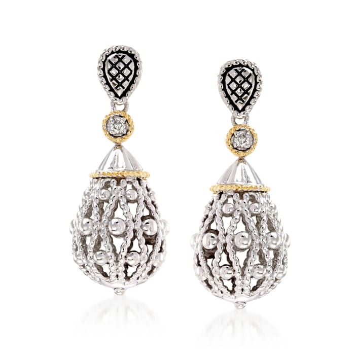 """Andrea Candela """"La Corona"""" Sterling Silver and 18kt Yellow Gold Teardrop Earrings with Diamond Accents"""