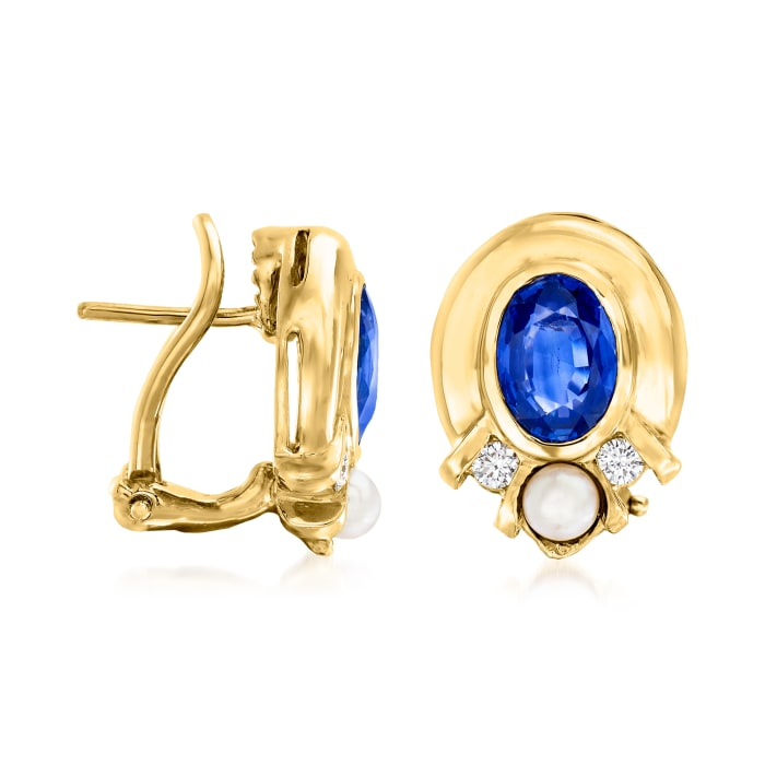 C. 1980 Vintage 3.5mm Cultured Pearl, 2.70 ct. t.w. Sapphire and .16 ct. t.w. Diamond Earrings in 18kt Yellow Gold