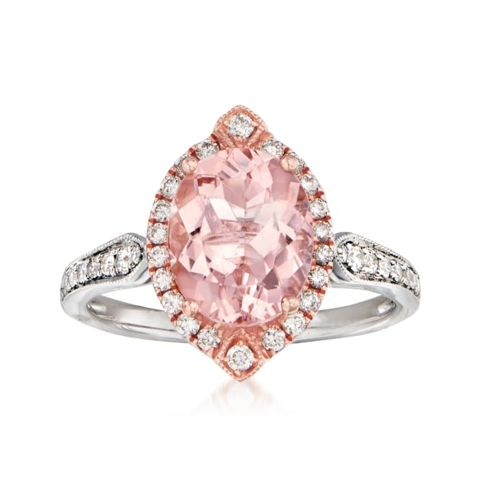 2.40 Carat Morganite and .33 ct. t.w. Diamond Ring in 14kt Two-Tone Gold