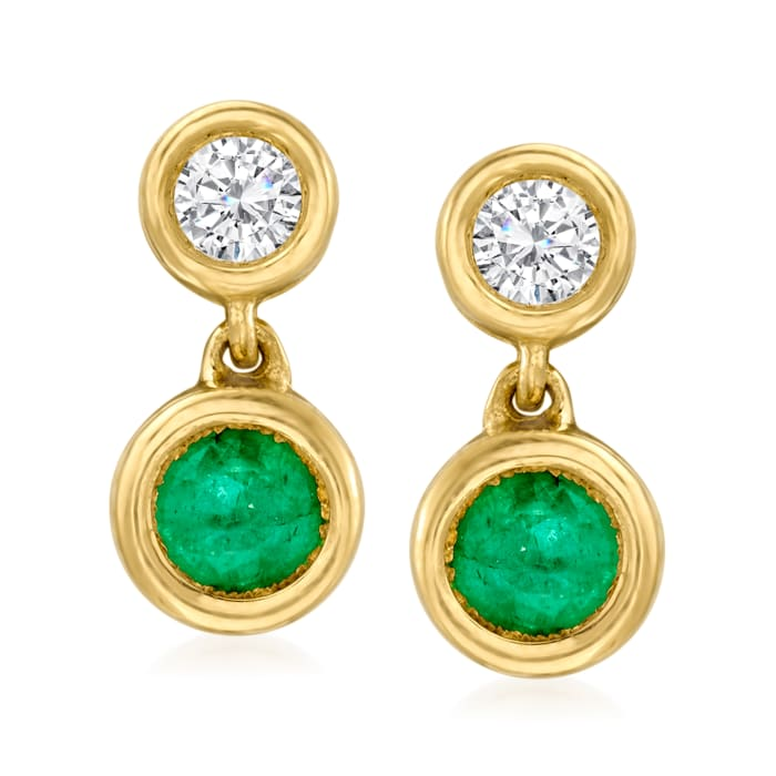 .50 ct. t.w. Emerald and .25 ct. t.w. Diamond Drop Earrings in 14kt Yellow Gold