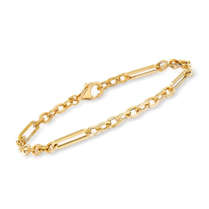 Italian 18kt Yellow Gold Alternating-Link Bracelet