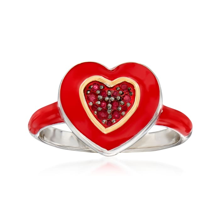 .15 ct. t.w. Ruby and Red Enamel Heart Ring in Sterling Silver and 14kt Yellow Gold