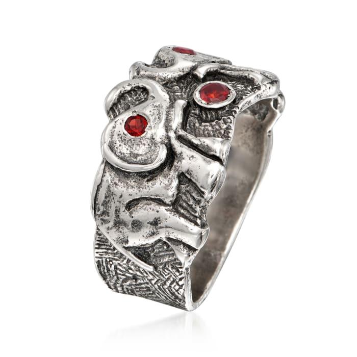 .15 ct. t.w. Garnet Double Elephant Ring in Sterling Silver