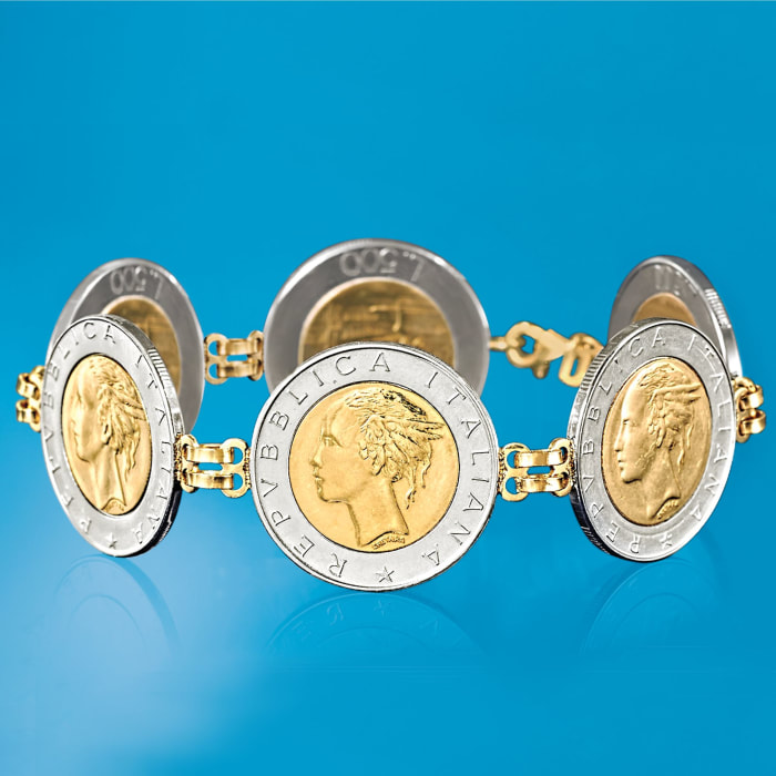 Italian Genuine 500-Lira Coin Bracelet with 14kt Yellow Gold