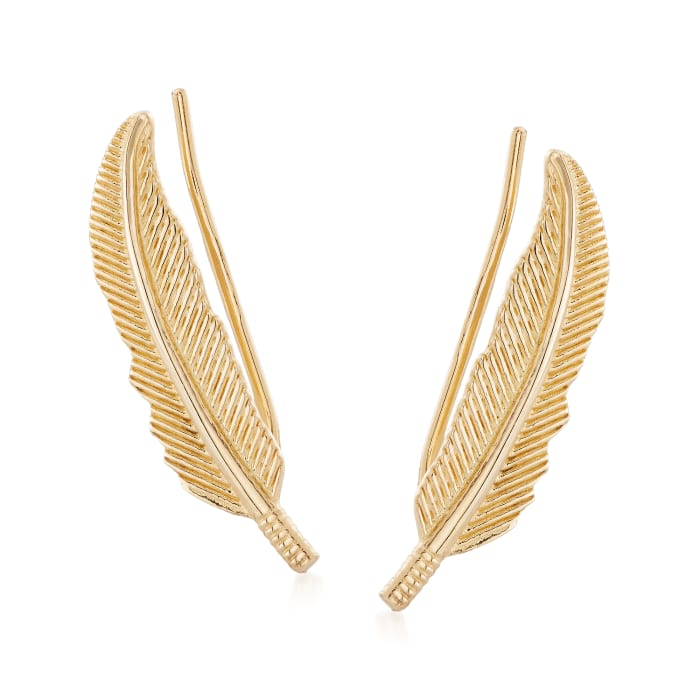 14kt Yellow Gold Leaf Ear Climbers