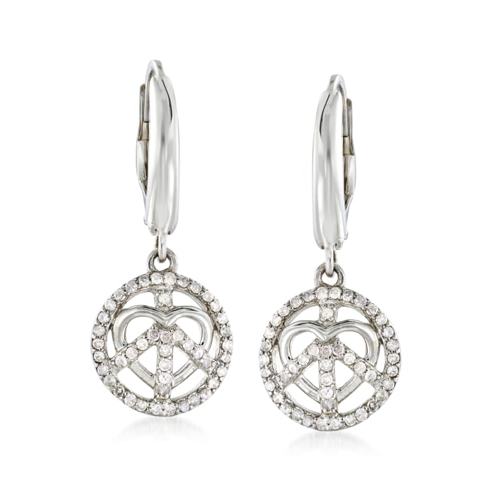 .35 ct. t.w. Diamond Peace and Love Drop Earrings in Sterling Silver
