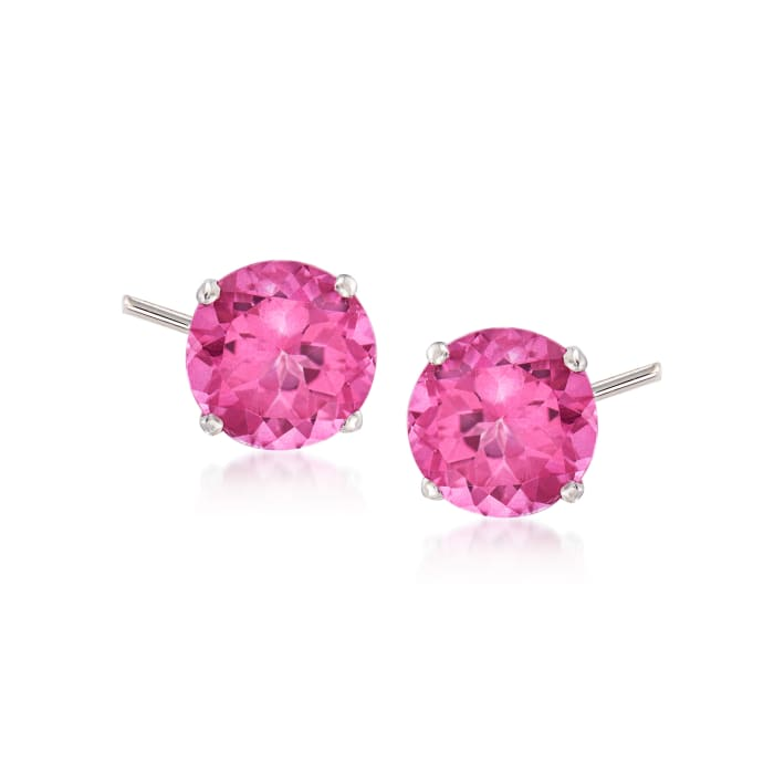 4.50 ct. t.w. Pink Topaz Stud Earrings in 14kt White Gold