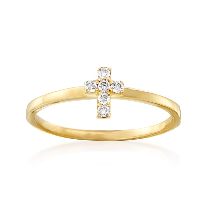 Diamond-Accented Cross Ring in 14kt Yellow Gold