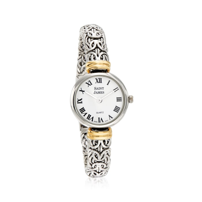 Saint James Women's 22mm Byzantine Watch in Sterling Silver with 14kt Yellow Gold