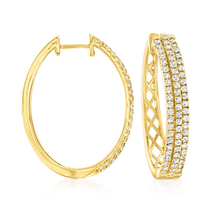 2.00 ct. t.w. Diamond Oval Hoop Earrings in 18kt Gold Over Sterling