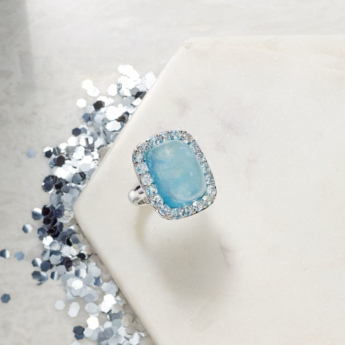 19.00 Carat Aquamarine and 2.60 ct. t.w. Sky Blue Topaz Ring in Sterling Silver