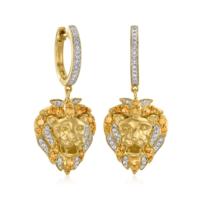 .50 ct. t.w. Citrine and .30 ct. t.w. White Topaz Lion Drop Earrings in 18kt Gold Over Sterling