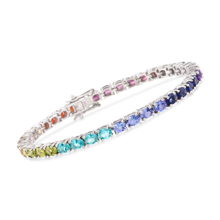 10.50 ct. t.w. Multi-Gem and Fire Opal Tennis Bracelet in Sterling Silver