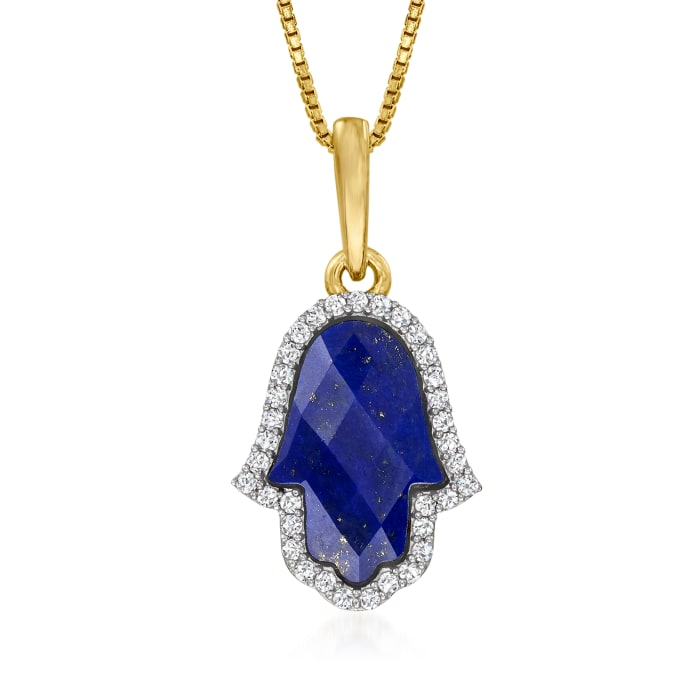 Lapis and .30 ct. t.w. White Zircon Hamsa Hand Pendant Necklace in 18kt Gold Over Sterling