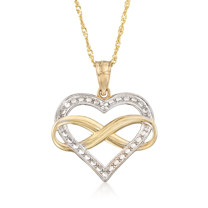 14kt Two-Tone Gold Diamond-Cut Infinity Heart Pendant Necklace