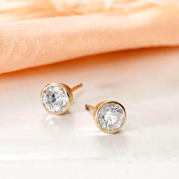 1.00 ct. t.w. Bezel-Set Diamond Stud Earrings in 14kt Yellow Gold