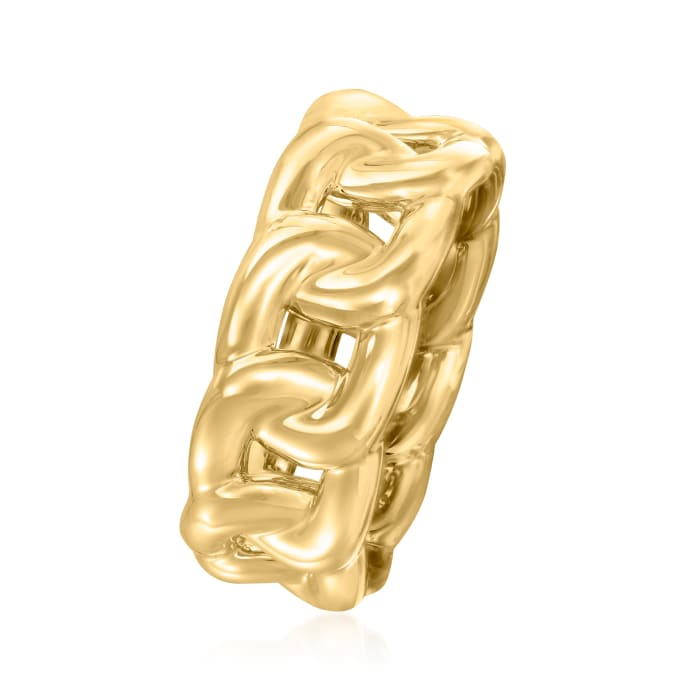 Italian Andiamo 14kt Yellow Gold Over Resin Curb-Link Ring