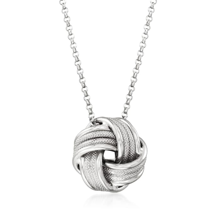 Italian Sterling Silver Love Knot Necklace