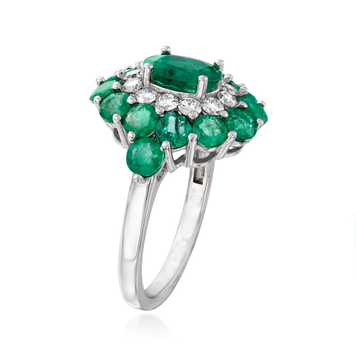 3.90 ct. t.w. Emerald and .54 ct. t.w. Diamond Ring in 14kt White Gold