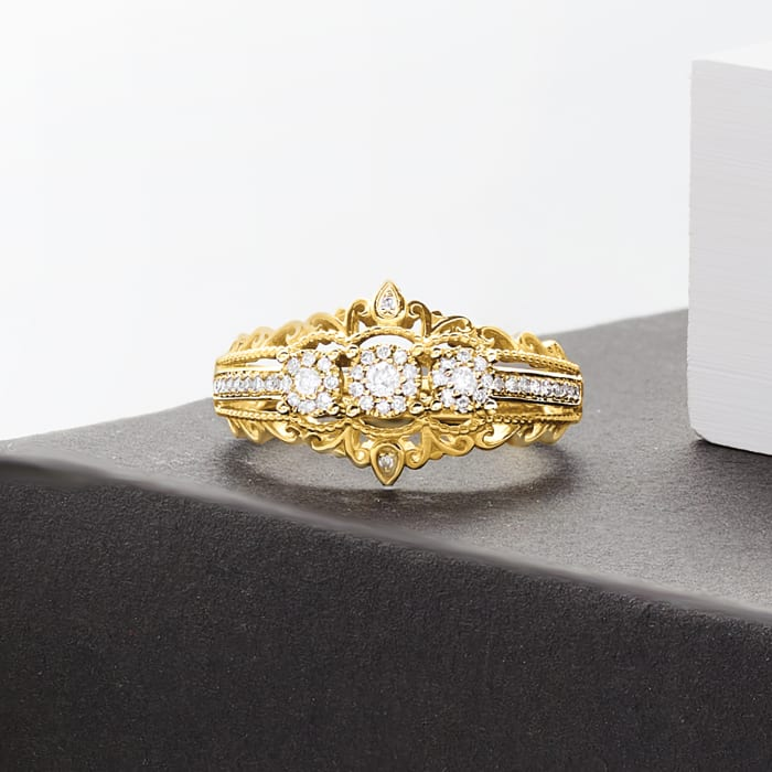 .20 ct. t.w. Diamond Vintage-Style Ring in 14kt Two-Tone Gold