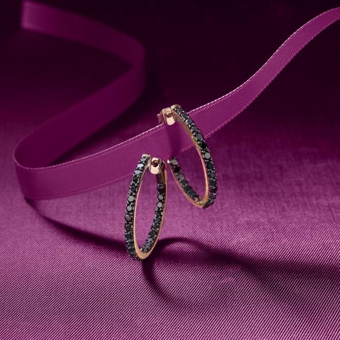 2.00 ct. t.w. Black Diamond Inside-Outside Hoop Earrings in 14kt Yellow Gold