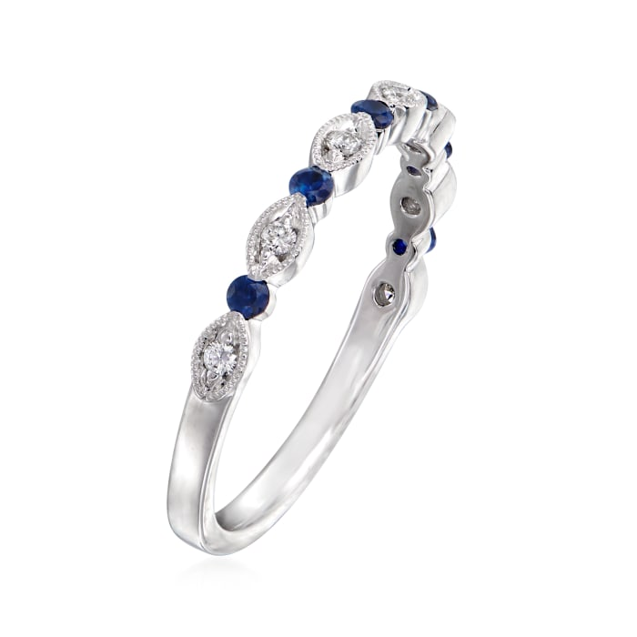 Henri Daussi .10 ct. t.w. Sapphire and Diamond-Accented Wedding Ring in 14kt White Gold