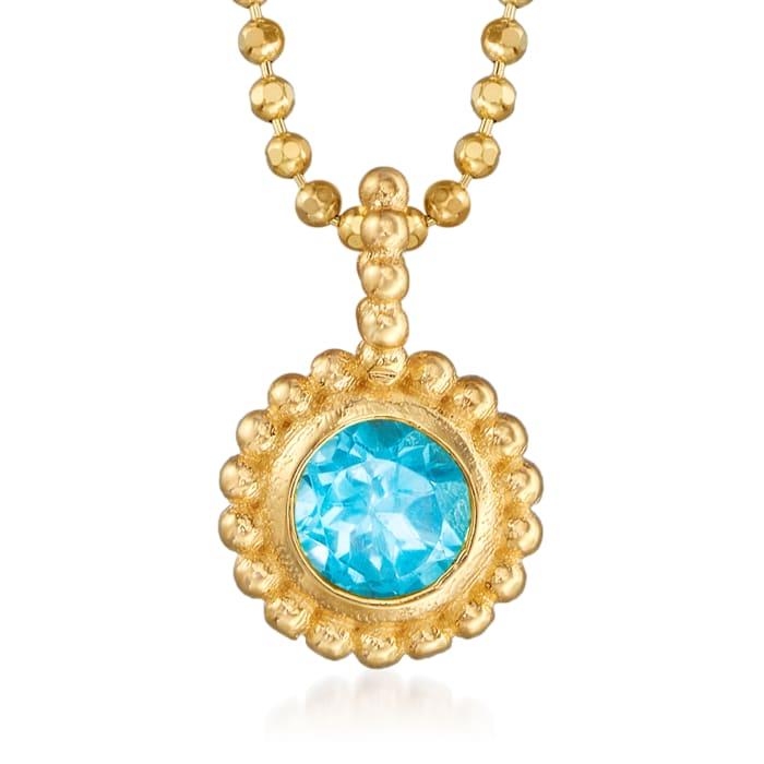 "Phillip Gavriel ""Popcorn"" .30 Carat Blue Topaz Beaded Necklace in 14kt Yellow Gold"