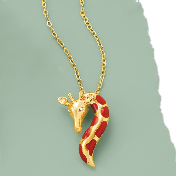 Orange Enamel Giraffe Pendant Necklace with Diamond Accents in 18kt Gold Over Sterling