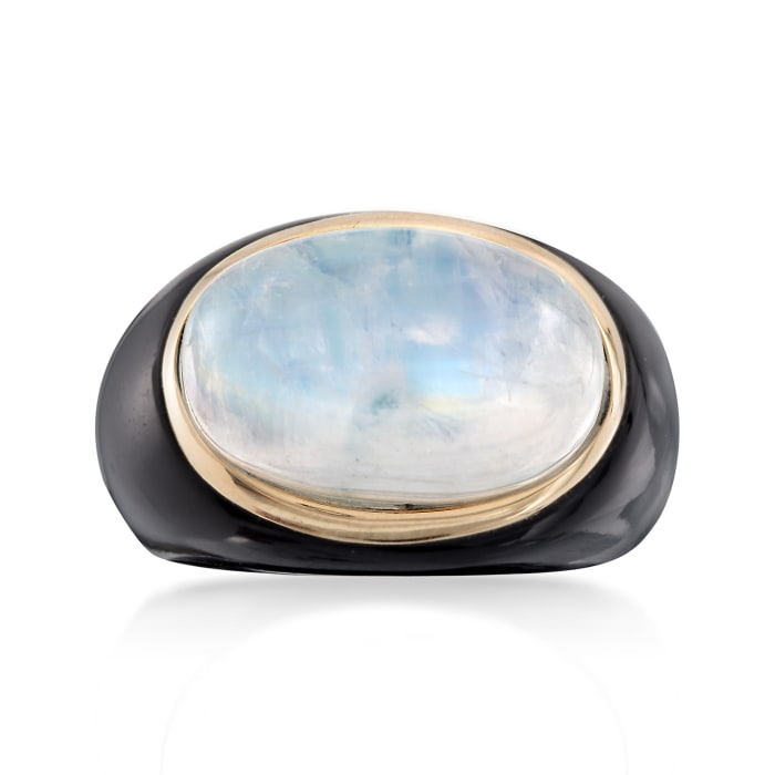 Moonstone and Black Agate Ring with 14kt Yellow Gold