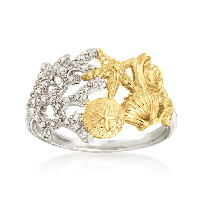 .10 ct. t.w. Diamond Sea Life Ring in Sterling Silver and 18kt Gold Over Sterling