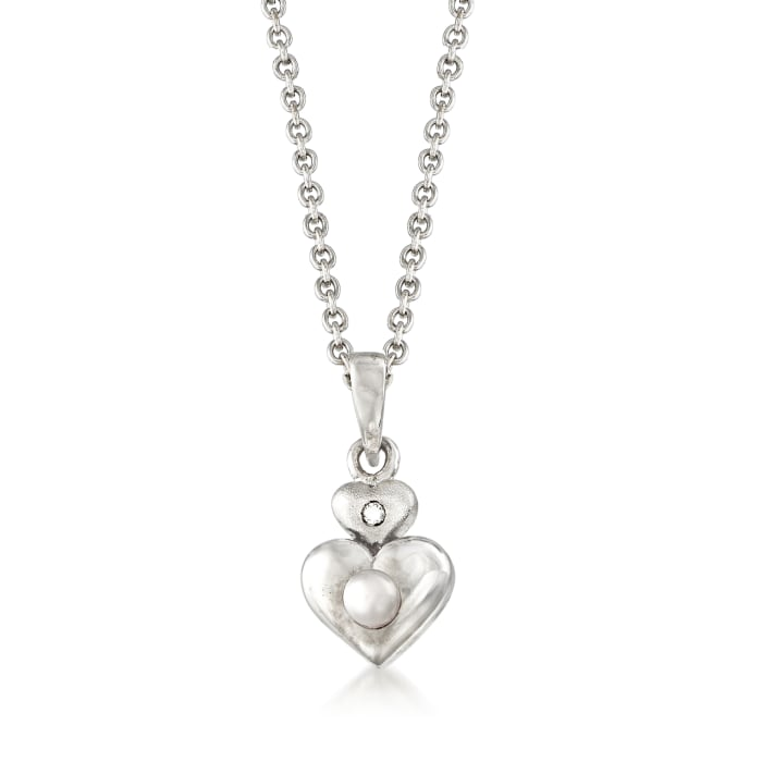 Baby's 2.5-3mm Cultured Pearl Double Heart Pendant Necklace with Diamond Accent in Sterling Silver