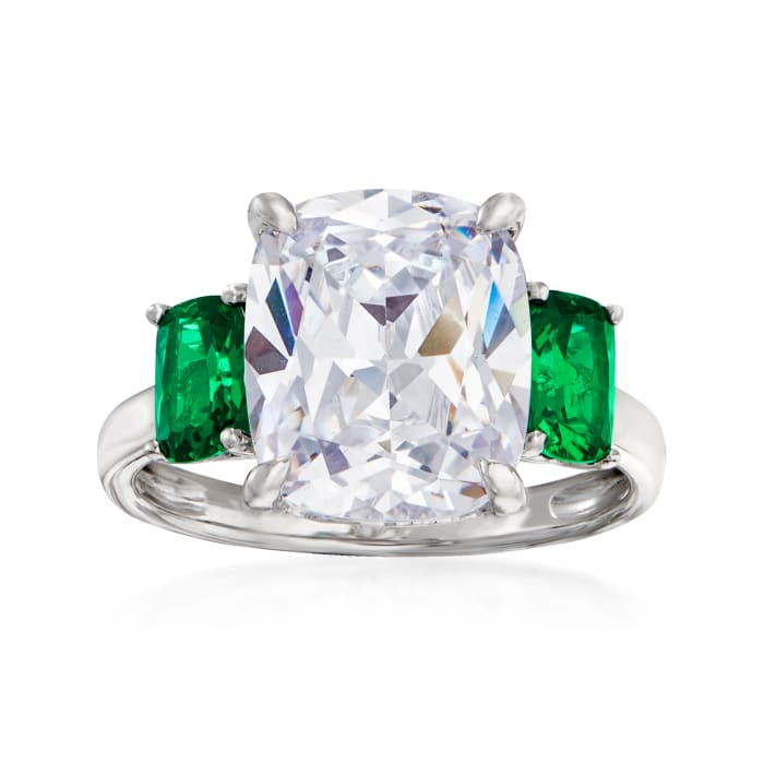 6.25 Carat CZ and 1.10 ct. t.w. Simulated Emerald Three-Stone Ring in Sterling Silver