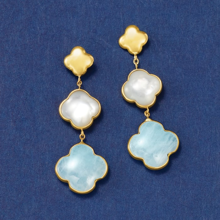 Italian Mother-Of-Pearl and 5.00 ct. t.w. Aquamarine Clover Drop Earrings in 14kt Yellow Gold