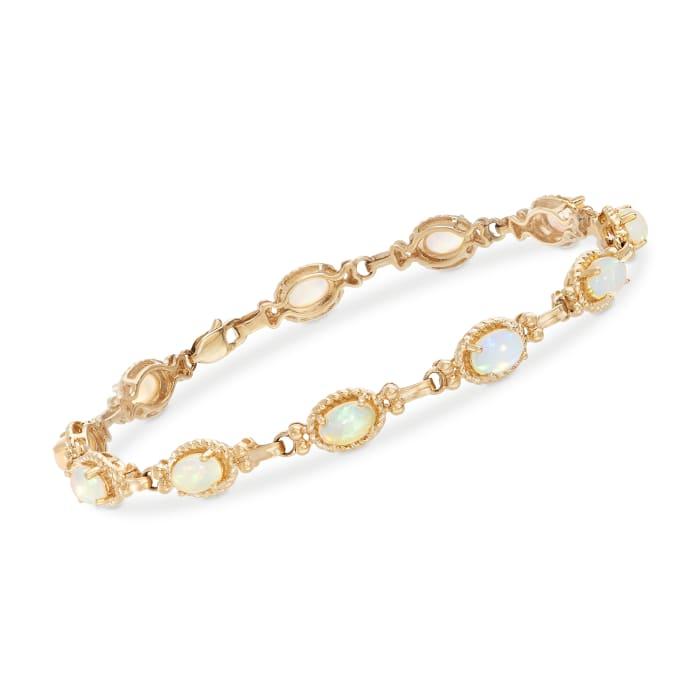 6x4mm Opal Bracelet in 14kt Yellow Gold