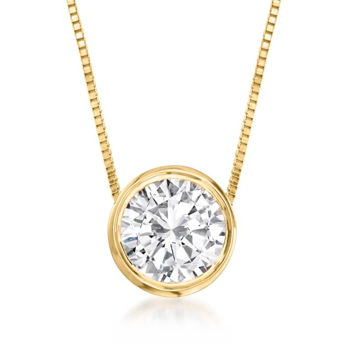 .75 Carat Bezel-Set Diamond Necklace in 14kt Yellow Gold