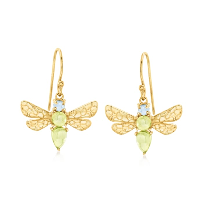 1.80 ct. t.w. Peridot and .30 ct. t.w. Swiss Blue Topaz Dragonfly Drop Earrings in 18kt Gold Over Sterling