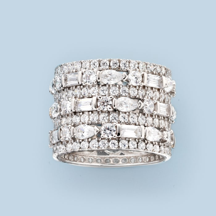 6.56 ct. t.w. CZ Multi-Row Eternity Band in Sterling Silver