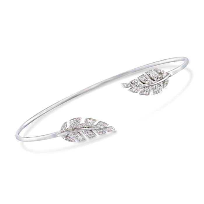 .43 ct. t.w. CZ Leaf Cuff Bracelet in Sterling Silver