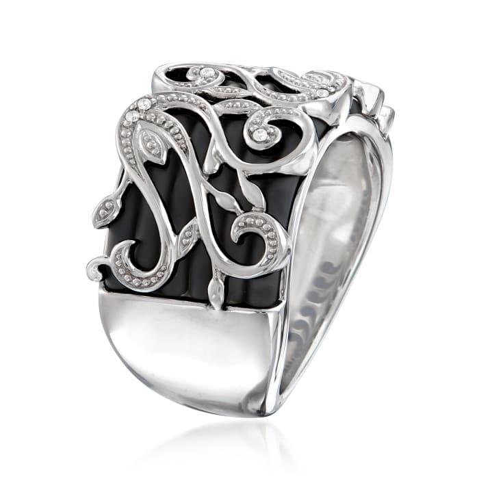 "Belle Etoile ""Andante"" Black Rubber Ring in Sterling Silver"