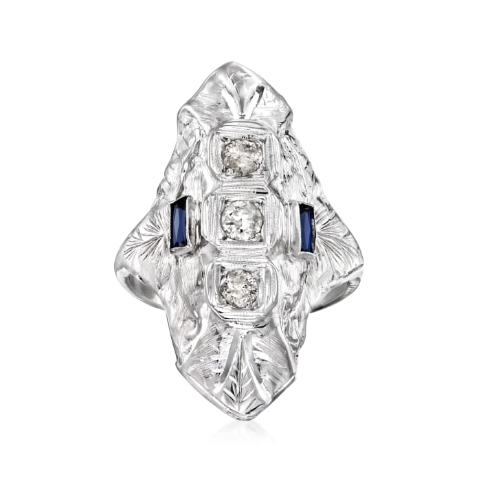 C. 1990 Vintage .40 ct. t.w. Diamond and .14 ct. t.w. Synthetic Sapphire Dinner Ring in 18kt White Gold