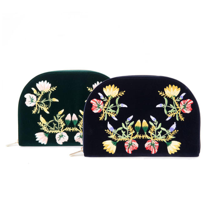 "Wolf ""Zoe"" Indigo Velvet Floral Jewelry Travel Portfolio Case"