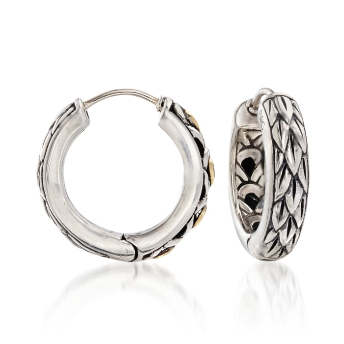 """Phillip Gavriel """"Dragonfly"""" Sterling Silver and 18kt Gold Small Hoop Earrings"""