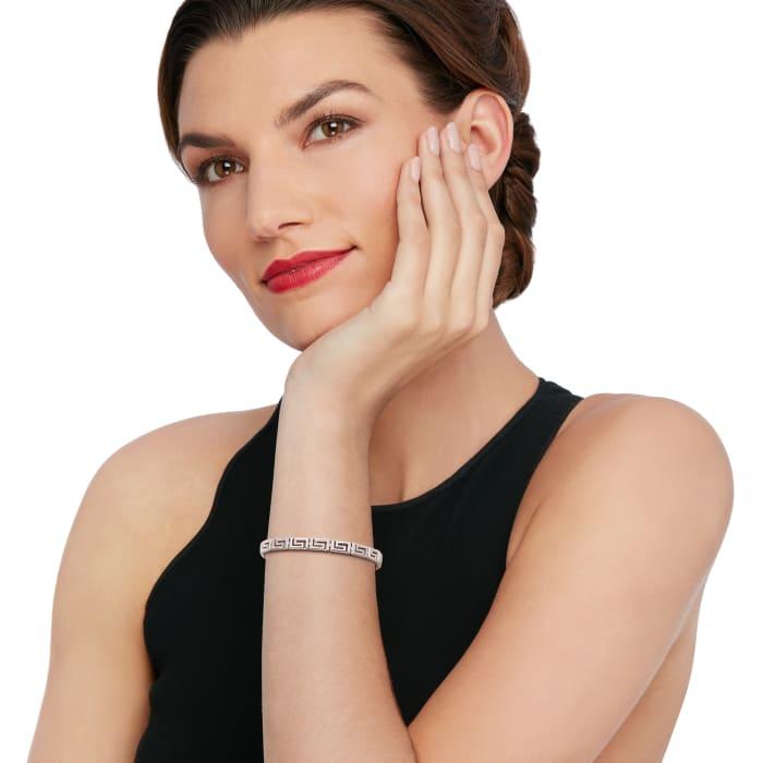 1.00 ct. t.w. Diamond Greek Key Bracelet in Sterling Silver