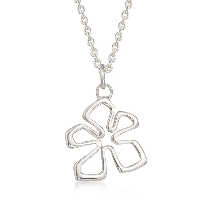 "Zina Sterling Silver Small ""Tiki"" Flower Pendant Necklace"