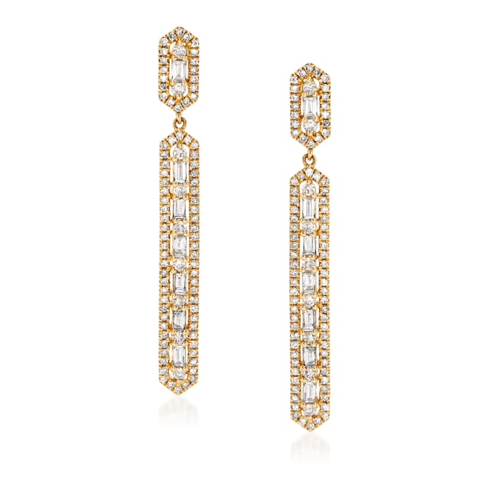 1.00 ct. t.w. Baguette and Round Diamond Linear Drop Earrings in 18kt Yellow Gold