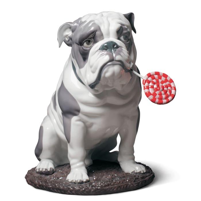 "Lladro ""Bulldog with Lollipop"" Porcelain Figurine"